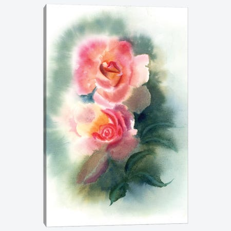 Peach Rose Canvas Print #OSF232} by Olga Shefranov Art Print