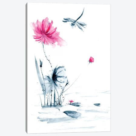 Pink Flower and a Lily Pad II Canvas Print #OSF260} by Olga Shefranov Canvas Wall Art