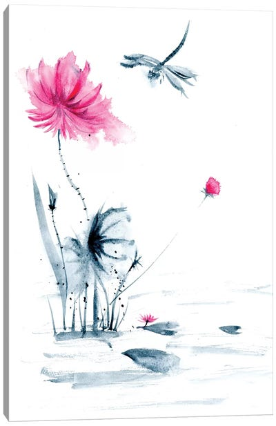 Pink Flower and a Lily Pad II Canvas Art Print