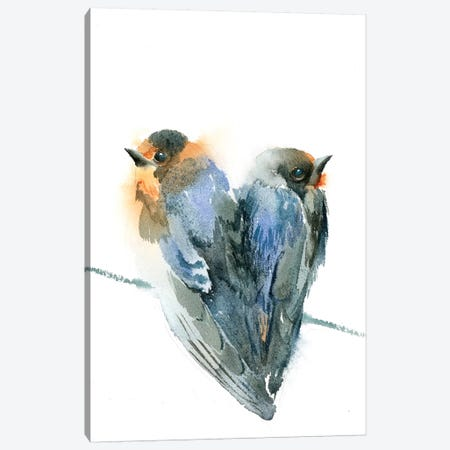 Bird Love Canvas Print #OSF30} by Olga Shefranov Canvas Wall Art
