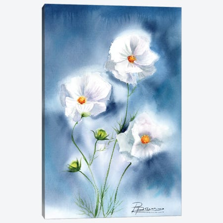 White Flowers Canvas Print #OSF344} by Olga Shefranov Canvas Artwork