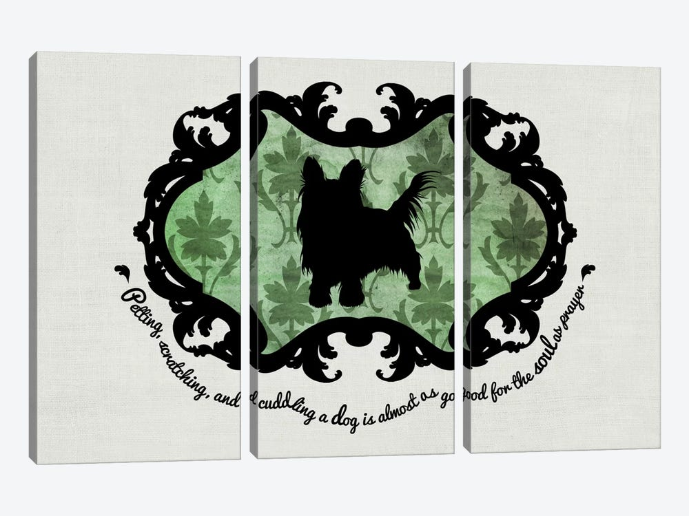 Yorkshire Terrier (Green&Black) by 5by5collective 3-piece Art Print