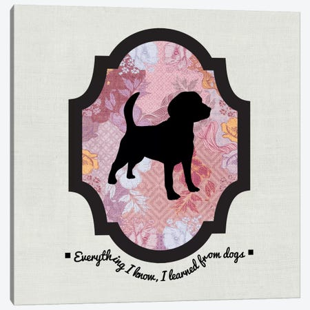 Beagle (Black&Pink) I Canvas Print #OSP18} by 5by5collective Canvas Art