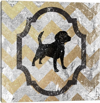 Beagle (Gray&Yellow) Canvas Art Print