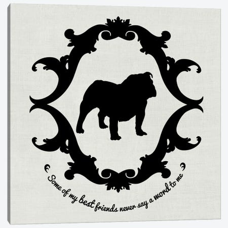 Bulldog (Black&White) Canvas Print #OSP33} by 5by5collective Canvas Wall Art
