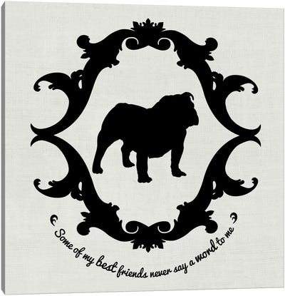 Bulldog (Black&White) Canvas Art Print