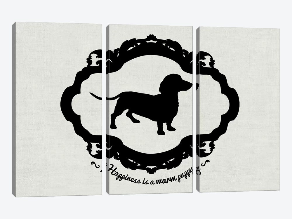 Basset Hound (Gray&Black) by 5by5collective 3-piece Canvas Wall Art