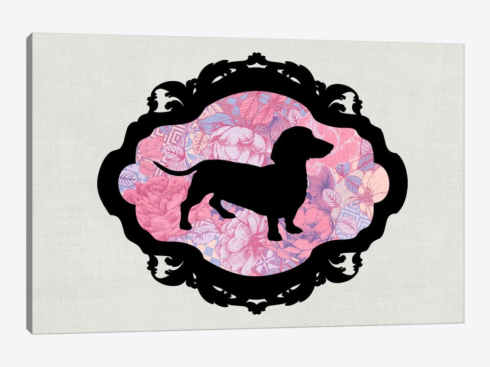 Basset Hound (Pink&Black) II by 5by5collective 1-piece Canvas Art Print