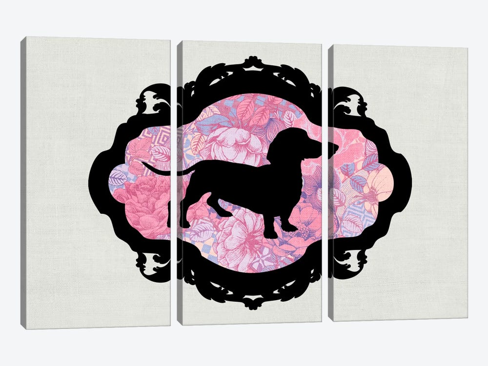 Basset Hound (Pink&Black) II by 5by5collective 3-piece Art Print
