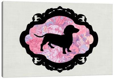Basset Hound (Pink&Black) II Canvas Art Print