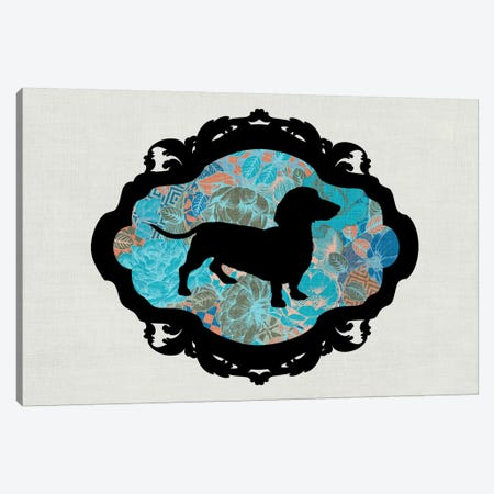 Basset Hound (Blue&Black) II Canvas Print #OSP47} by 5by5collective Canvas Artwork