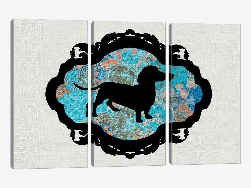 Basset Hound (Blue&Black) II by 5by5collective 3-piece Canvas Art