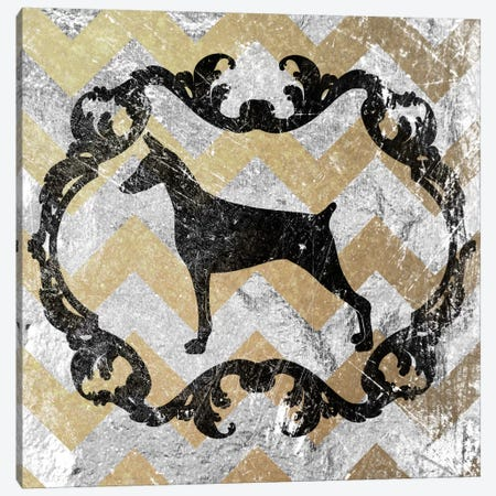 Doberman (Gray&Yellow) Canvas Print #OSP49} by 5by5collective Art Print
