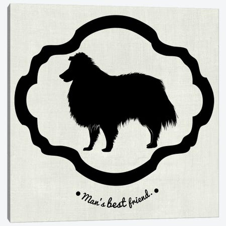 Collie (Black&White) Canvas Print #OSP4} by 5by5collective Canvas Wall Art
