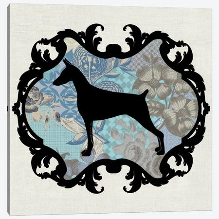 Doberman (Blue&Black) I Canvas Print #OSP50} by 5by5collective Canvas Wall Art