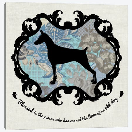 Doberman (Blue&Black) II Canvas Print #OSP51} by 5by5collective Canvas Art