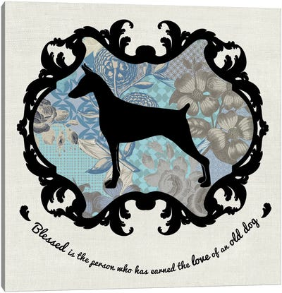 Doberman (Blue&Black) II Canvas Print #OSP51