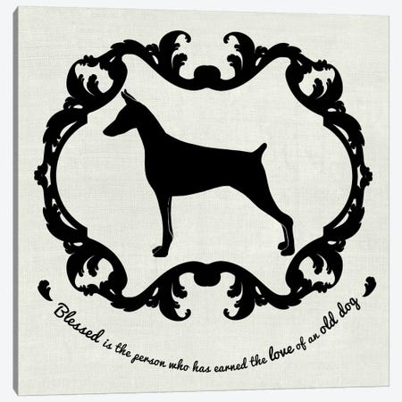 Doberman (Black&White) Canvas Print #OSP52} by 5by5collective Canvas Art