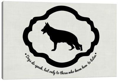 German Shepherd (Black&White) Canvas Print #OSP53