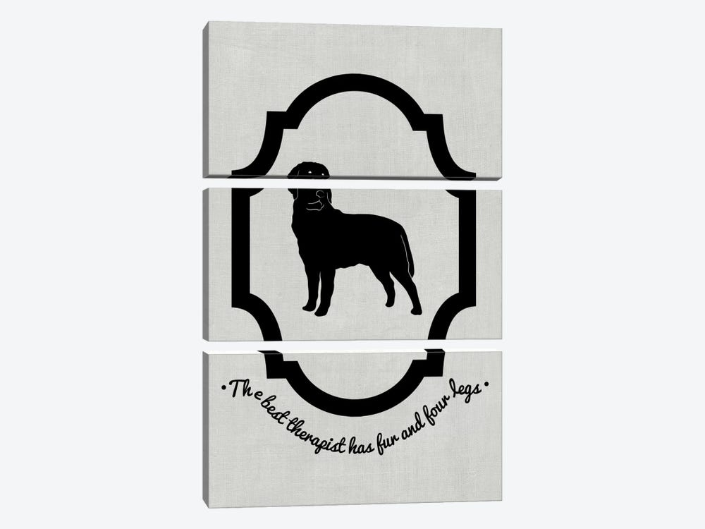 Rottweiler (Black&White) by 5by5collective 3-piece Canvas Print