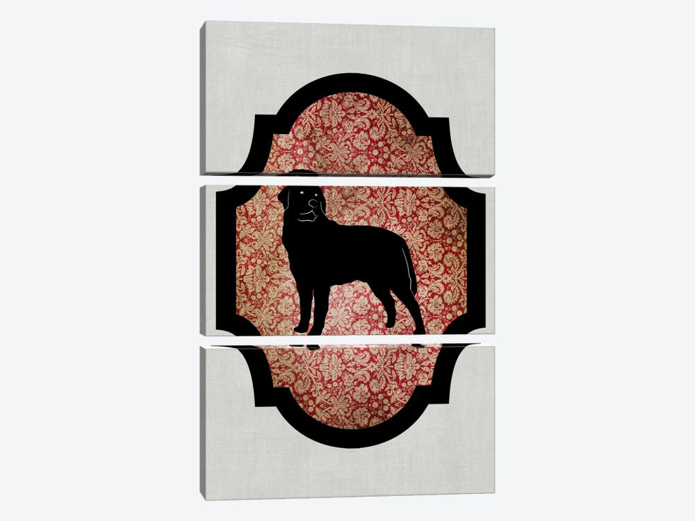 Rottweiler (Black&Red) II by 5by5collective 3-piece Art Print