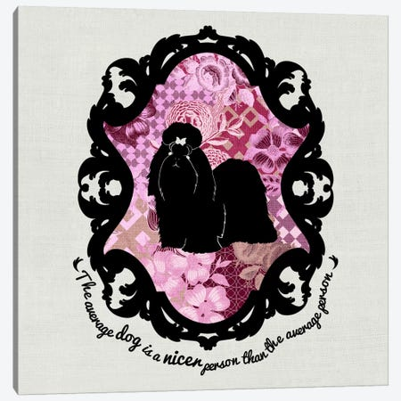 Shih Tzu (Pink&Black) II Canvas Print #OSP7} by 5by5collective Canvas Wall Art