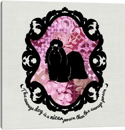 Shih Tzu (Pink&Black) II Canvas Art Print