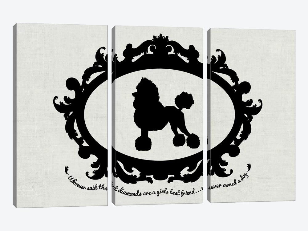 Poodle (Black&White) by 5by5collective 3-piece Canvas Art