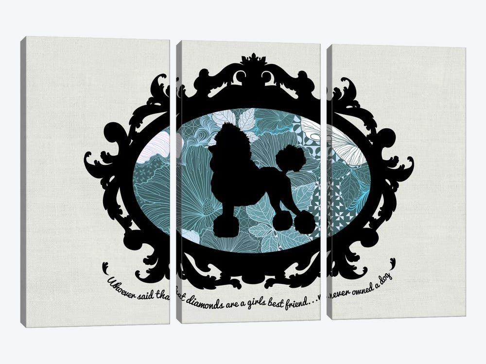 Poodle (Black&Blue) I by 5by5collective 3-piece Art Print