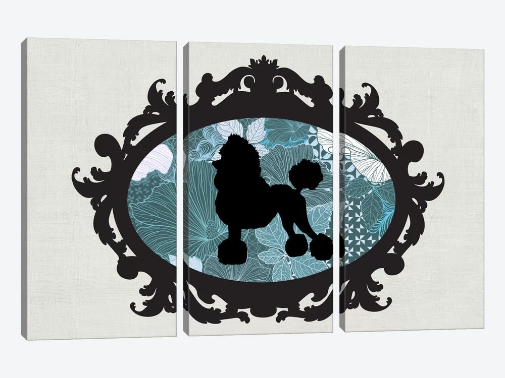 Poodle (Black&Blue) II 3-piece Canvas Wall Art