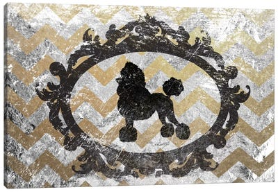Poodle (Gray&Yellow) Canvas Art Print