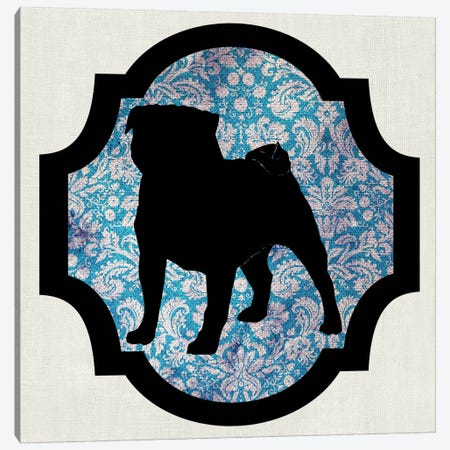 Pug (Black&Blue) II Canvas Print #OSP90} by 5by5collective Canvas Art