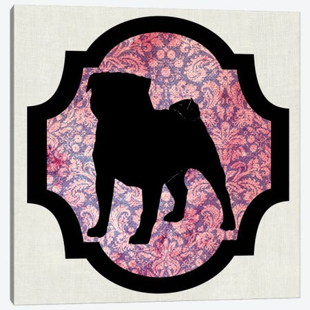 Pug (Pink&Black) I Canvas Print #OSP91} by 5by5collective Canvas Wall Art