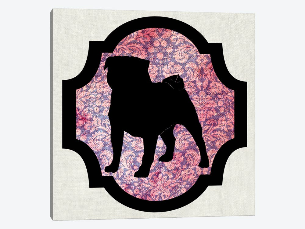Pug (Pink&Black) I by 5by5collective 1-piece Canvas Art Print