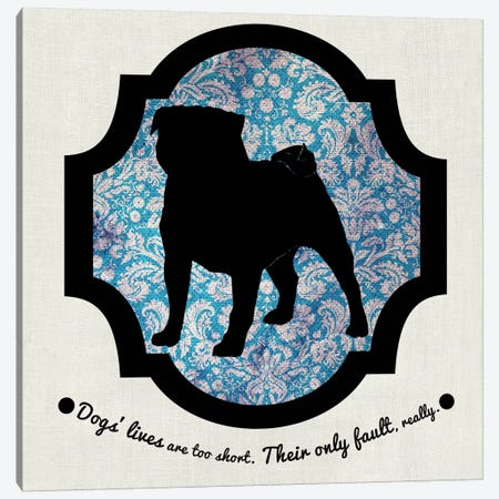 Pug (Black&Blue) II Canvas Print #OSP92} by 5by5collective Canvas Wall Art