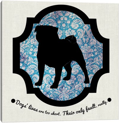 Pug (Black&Blue) II Canvas Art Print
