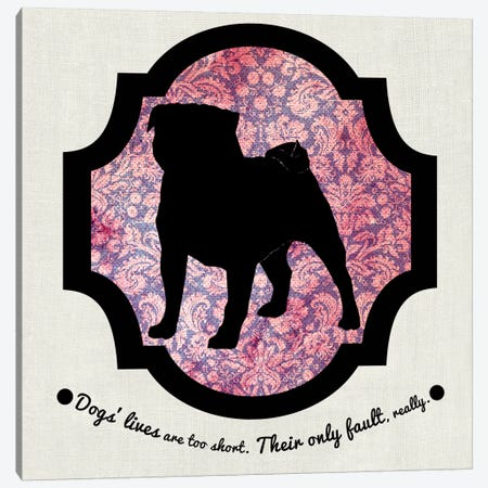 Pug (Pink&Black) II Canvas Print #OSP93} by 5by5collective Canvas Art
