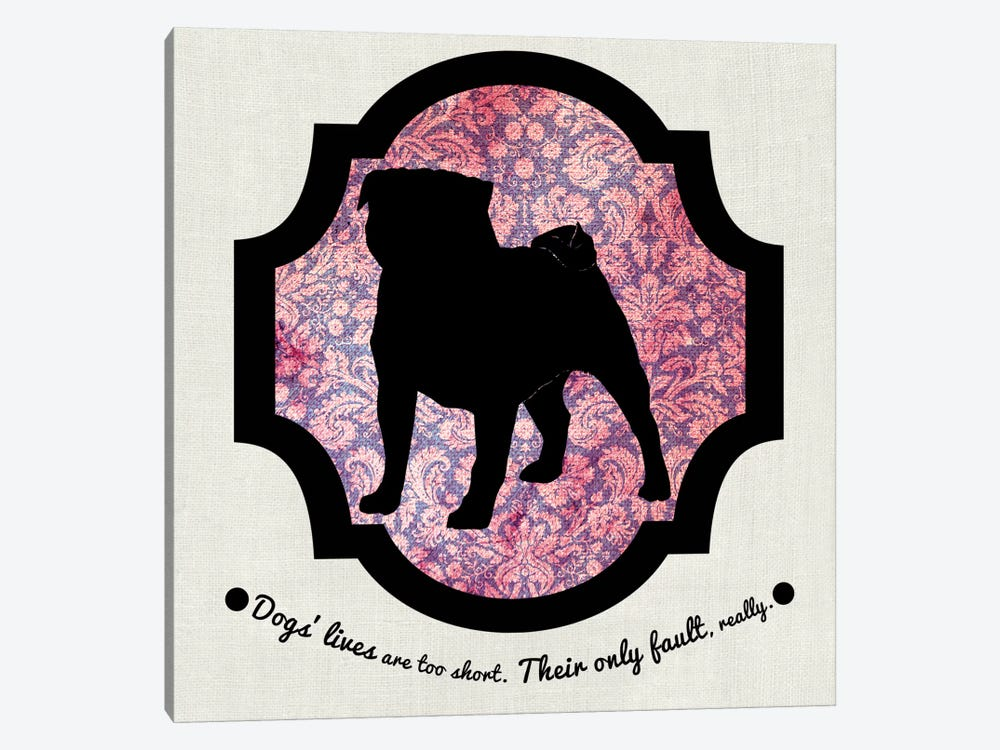 Pug (Pink&Black) II by 5by5collective 1-piece Art Print