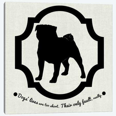 Pug (Black&White) Canvas Print #OSP94} by 5by5collective Art Print
