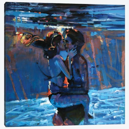 Kissing Underwater Canvas Print #OTL21} by Marco Ortolan Canvas Wall Art