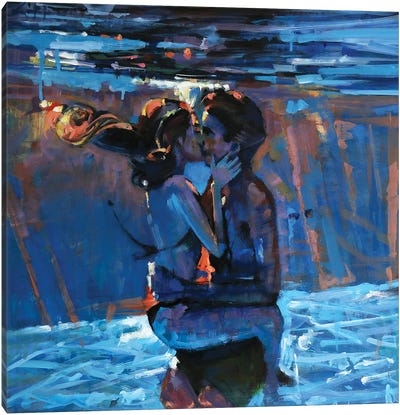 Kissing Underwater Canvas Art Print
