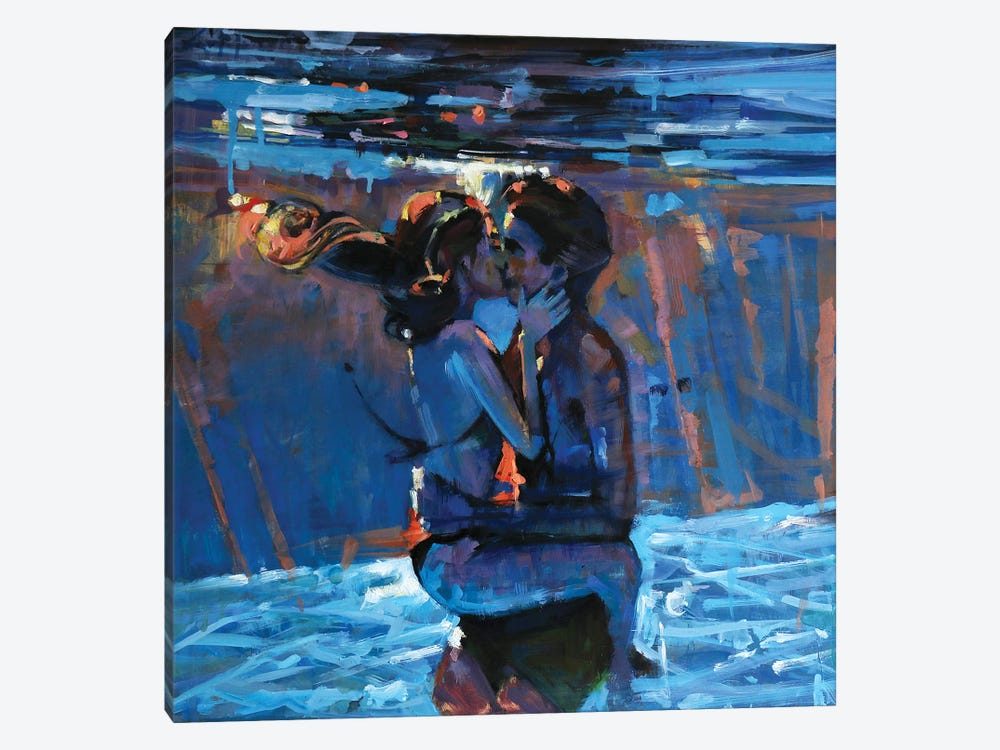 Kissing Underwater by Marco Ortolan 1-piece Canvas Print