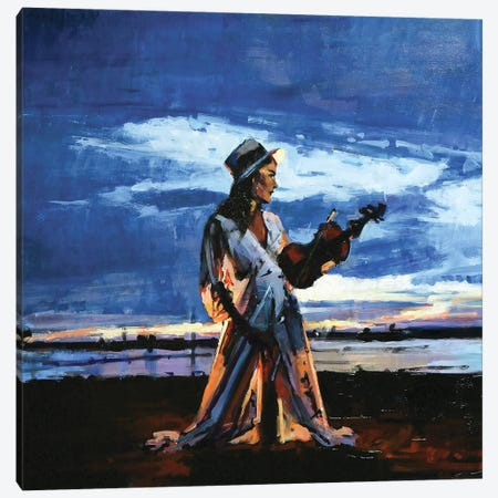 The Lady Of The Violin Canvas Print #OTL29} by Marco Ortolan Canvas Artwork