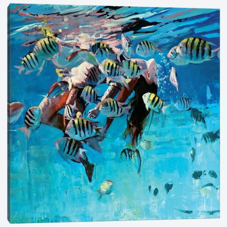 Dancing Underwater IV Canvas Print #OTL33} by Marco Ortolan Art Print