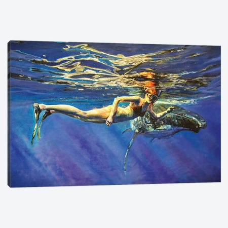 The Woman And The Whale Canvas Print #OTL36} by Marco Ortolan Canvas Wall Art