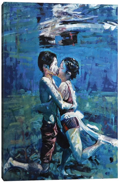 Kissing Underwater V Canvas Art Print