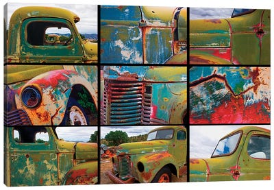 Abandoned trucks poster, Chloride, New Mexico Canvas Art Print
