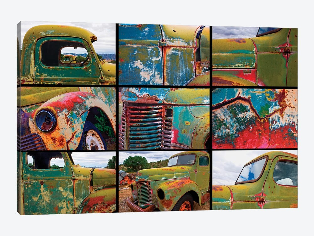 Abandoned trucks poster, Chloride, New Mexico by Mallorie Ostrowitz 1-piece Canvas Artwork