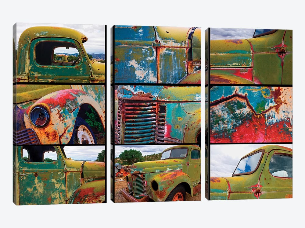 Abandoned trucks poster, Chloride, New Mexico by Mallorie Ostrowitz 3-piece Canvas Art