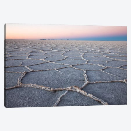 The largest salt flats in the world located in Uyuni, bolivia as the sun is rising in winter. Canvas Print #OTW2} by Mallorie Ostrowitz Canvas Print